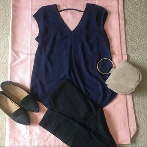 DR2 navy blue blouse from Nordstrom.